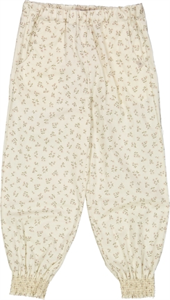 Wheat trousers Sara - Eggshell flowers