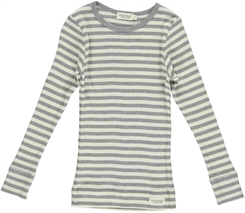 MarMar Modal stripes Tee LS (Off white/Grey melange)