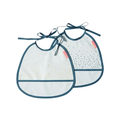 Done by Deer Tiny Bib, 2-pack, Happy Dots (blue)