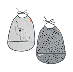 Done by Deer bib 2-pack, Elphee - grey