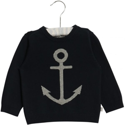 Wheat Baby Knit Pullover Anchor (Navy)