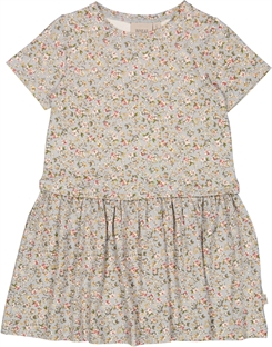 Wheat dress Adea - Dusty blue flowers