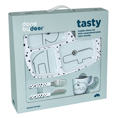 Done By Deer Starter Dinner Set, Happy Dots (blue)