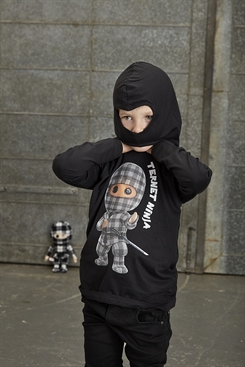 "Ternet Ninja - Anders Matthesen - Kids-Up T-shirt med ""ninja-hætte"" (sort)"