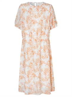 Rosemunde Recycle polyester dress - Ivory fine line rose print