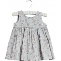Wheat dress Pinafore wrinkles - pearl blue flowers