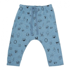 Soft Gallery Hailey Pants, Babyblue Melange, AOP Emojii Blue