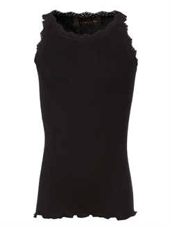 Rosemunde Silk top regular w/ lace - Black