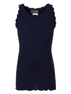 Rosemunde Silk top regular w/ lace - Navy
