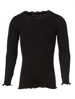 Rosemunde Silk t-shirt regular LS w/lace - Black