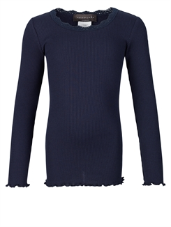 Rosemunde Silk t-shirt regular LS w/lace - Navy