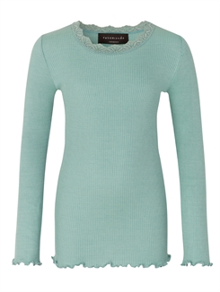 Rosemunde Silk t-shirt regular LS w/lace - Green Lake