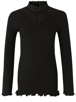 Rosemunde Organic t-shirt regular LS w/lace - Black