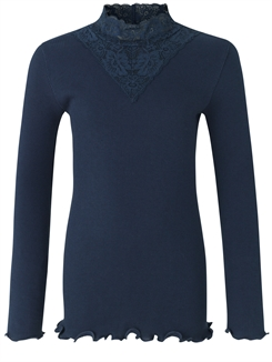 Rosemunde Organic t-shirt regular LS w/lace - Navy