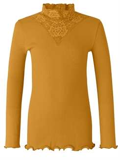 Rosemunde Organic t-shirt regular LS w/lace - Golden mustard