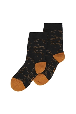 MP/Soft Gallery socks - jet black, AOP Flowerdust