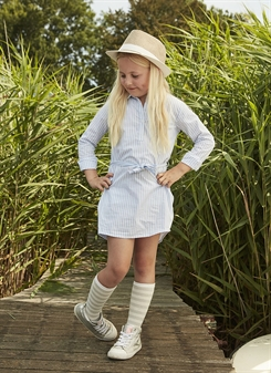 Kids-up Shirt Dress Carola - white/blue