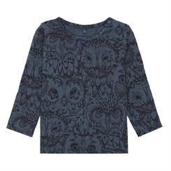 Soft Gallery Baby Bella T-shirt, AOP Owl - Orion blue