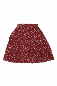 Soft Gallery Fine Skirt - Oxblood Red, AOP Flowery
