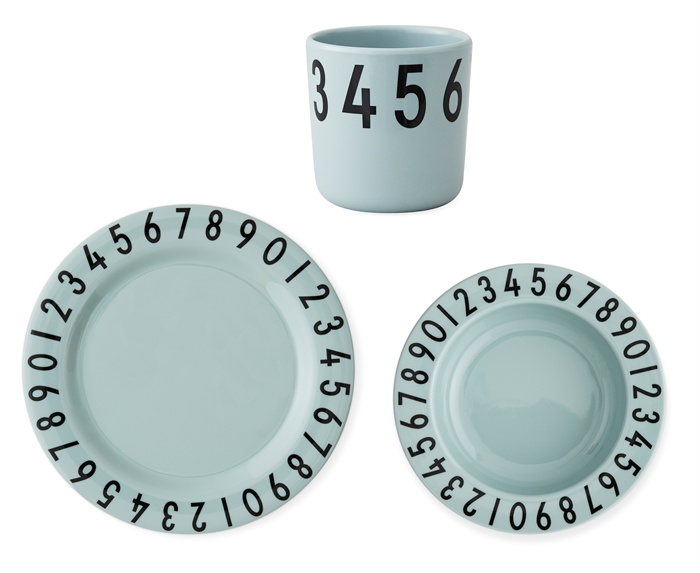 Design Letters melamine gift set - numbers (green)